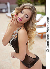 fashion summer portrait of sexy beautiful girl with blond...