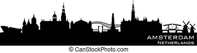 Amsterdam Netherlands city skyline vector silhouette -...