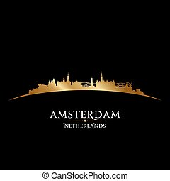 Amsterdam Netherlands city skyline silhouette black background