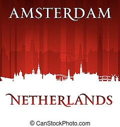 Amsterdam Netherlands city skyline silhouette red background
