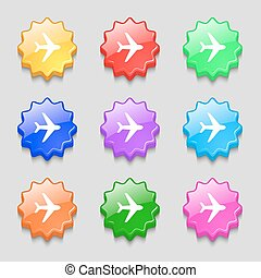 Plane icon sign. symbol on nine wavy colourful buttons. Vector