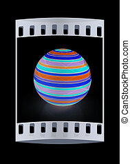 3d colored ball The film strip - 3d colored ball on a black...