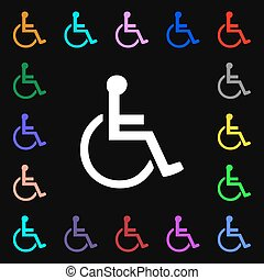 disabled iconi sign. Lots of colorful symbols for your design. Vector