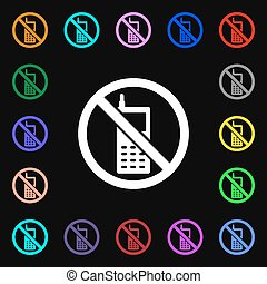 mobile phone is prohibited iconi sign. Lots of colorful symbols for your design. Vector