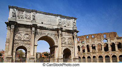 Arco de Constantino and Colosseum in Rome, Italy - details...