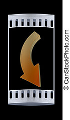 arrow The film strip - arrow sign 3d render The film strip...