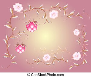 Pattern of beautiful raspberry and pink flowers. EPS10...