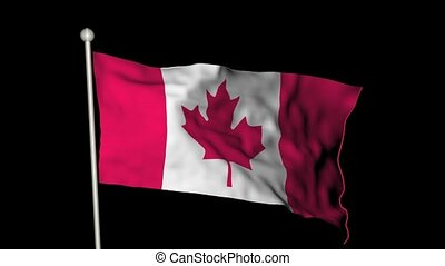 Canada flag waving - Looping Canadian flag waving with alpha...