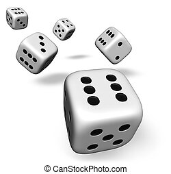 Five Dice Rolling On White