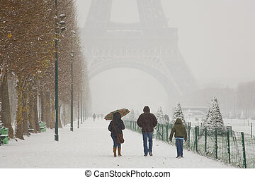 Rare snowy day in Paris. Misty Eiffel Tower, Champ de Mars...