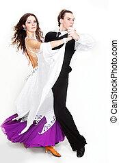 bailando, pareja, encima, blanco