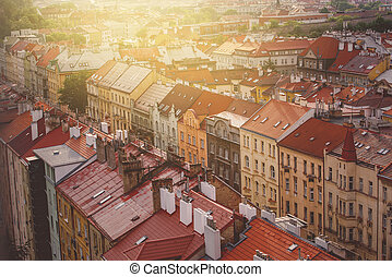 Prague, Aerial View of Vysehrad Buildings, Old Part of Czech...