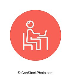 Businessman and laptop thin line icon for web and mobile...