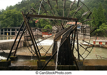 Waterwheel in Fenghuang ancient city - Waterwheel of the old...