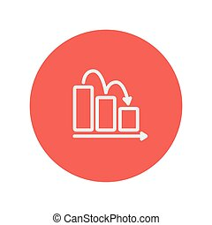 Business graph down thin line icon for web and mobile...
