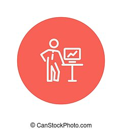 Business presentation thin line icon for web and mobile...