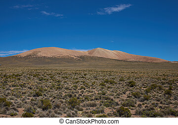 Landscape of the Altiplano - Colourful mountains high up in...