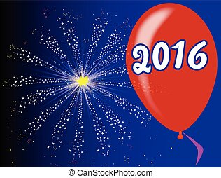 2016 Balloon - A flyaway red balloon with a skyrocket...