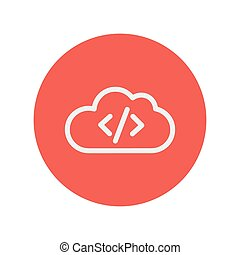 Transferring files cloud apps thin line icon for web and...