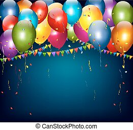 Colorful holiday background with balloons and confetti. Vector.