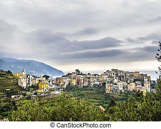 typical old village in the Levante, Italy under cloudy sky -...