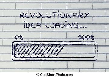 revolutionär, hinder, ladda, idé,  Illustration, framsteg