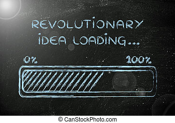 revolucionario, barra, carga,  idea, Ilustración, progreso