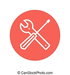 Screw driver and wrench tools thin line icon for web and...