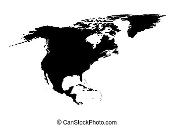 black and white map of North America