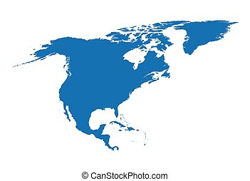 blue map of North America
