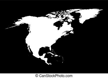 black and white North America map