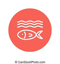 Fish under water thin line icon for web and mobile...