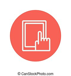 Tablet thin line icon for web and mobile minimalistic flat...