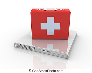 Server first aid - 3D rendered Illustration.