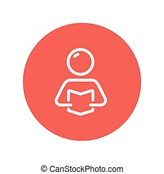 Man reading book thin line icon for web and mobile...
