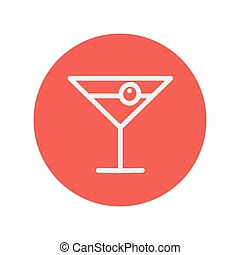 Cocktail drink with cherry thin line icon for web and mobile...