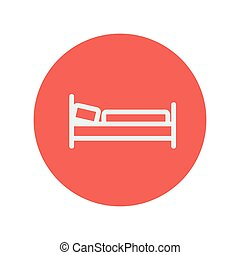Bed thin line icon for web and mobile minimalistic flat...
