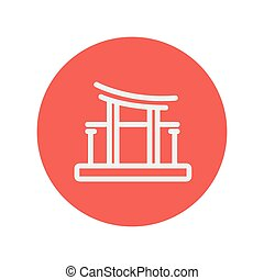Famous gate thin line icon for web and mobile minimalistic...