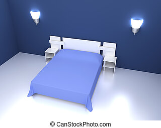 Blue Bedroom - 3D rendered Illustration. Interior Scene.