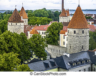 Tallinn Capital of Estonia Eest - historical view with well...