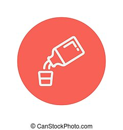 Medicine and measuring cup thin line icon for web and mobile...