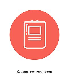Heart Defibrillator thin line icon for web and mobile...