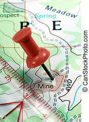 Push Pin on Topographical Map - Red Push Pin on...