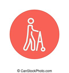 Disabled person with walker thin line icon for web and...