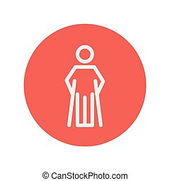 Injured man with crutches thin line icon for web and mobile...