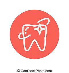 Shining tooth thin line icon for web and mobile minimalistic...