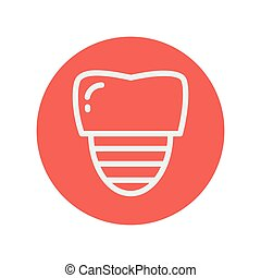 Tooth implant thin line icon for web and mobile minimalistic...