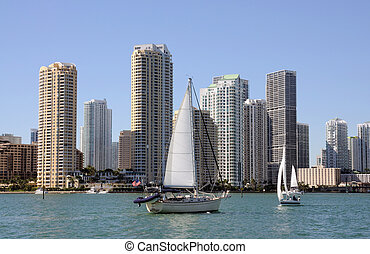 Sailing Yacht and Miami Downtown Skyline, Florida
