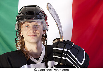 ice hockey player over italian flag