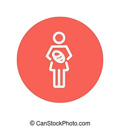Mother breastfeeding her baby thin line icon for web and...